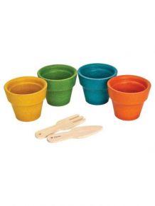 Set de 4 pots de fleurs et accessoires