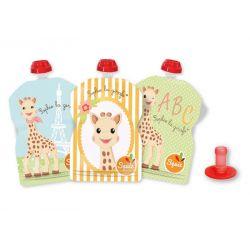 Lot de 3 gourdes réutilisables Sophie la Girafe SQUIZ avec embout