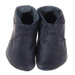 Chaussons en cuir souple: bleu marine étoile