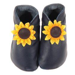 Chaussons en cuir souple: Marine fleur de tournesol