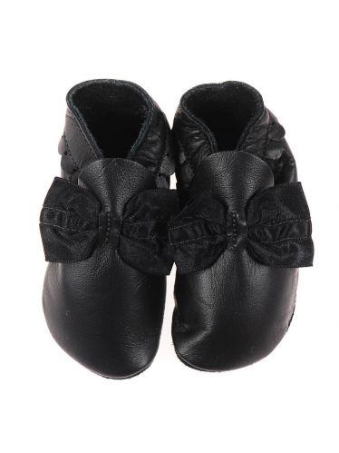 Chaussons en cuir souple: noir à noeuds