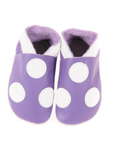 Chaussons en cuir souple: violets à pois blancs