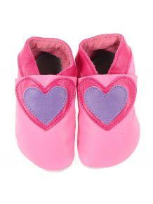 Chaussons en cuir souple: candy à coeur cerise/lilas