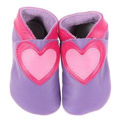 Chaussons en cuir souple: lilas à coeur cerise/candy