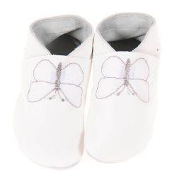 Chaussons en cuir souple: blancs à papillon