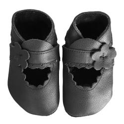 Chaussons en cuir souple: noirs à bride