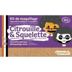 Kit de maquillage bio 3 couleurs Citrouille et Squelette