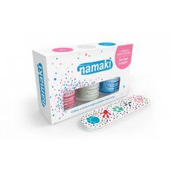 Coffret 3 vernis Namaki blanc-bleu ciel- rose + lime offerte