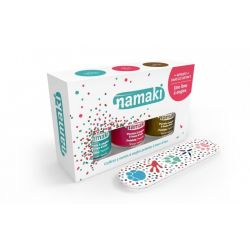 Coffret 3 vernis Namaki caraibe, corail, bronze+ lime offerte