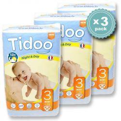 Pack économique 4 à 9 kgs T3 couches night & day TIDOO