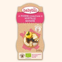 Purée de fruits pomme banane myrtilledès 4 mois 2X120 grs