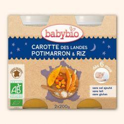 Menu Bonne Nuit carotte des landes potimarron riz dés 6 mois 2x200gr