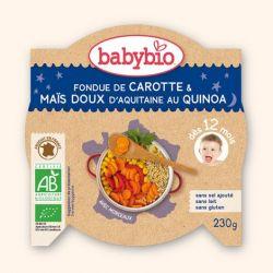 Assiette Bonne Nuit Fondue de carottes et mais doux au quinoa 12+