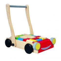 Chariot de marche coloré avec cubes en bois