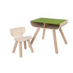 Table bureau vert avec rangement et sa chaise