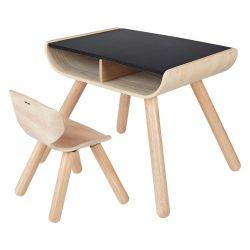 Table bureau dessus noir avec sa chaise en bois