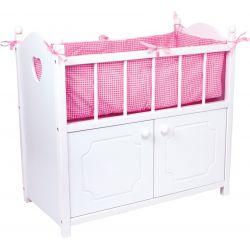 Combiné lit armoire de poupée en bois