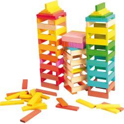 Plaquettes de construction en bois multicolores