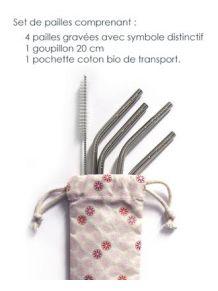 Set de 4 pailles coudées inox+goupillon+pochette