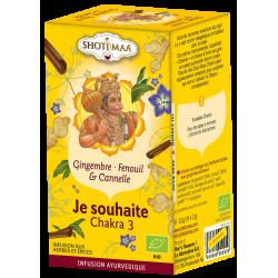 "Tisane SHOTI MAA CHAKRAS bio, ""Je souhaite"" Chakra 3, gingembre, fenouil et cannelle"