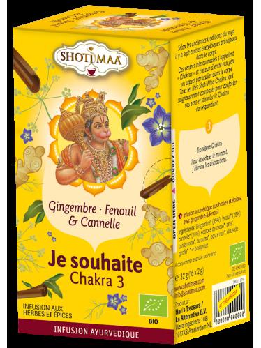 "Tisane SHOTI MAA CHAKRAS bio, ""Je ressens"" Chakra 2, hibiscus et orange"