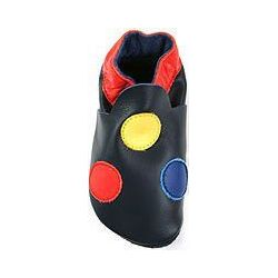 Bleu à points : chaussons en cuir souple