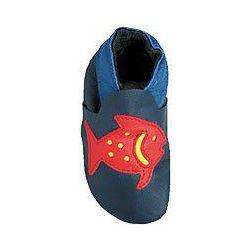 Bleu poisson rouge : chaussons en cuir souple