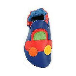 Bleu voiture rouge: chaussons en cuir souple