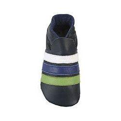 Bleu à rayures: chaussons en cuir souple