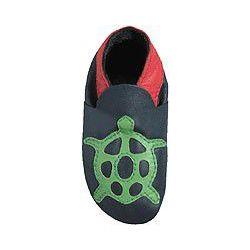 Bleu tortue verte: chaussons en cuir souple