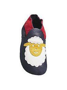 Bleu mouton blanc: chaussons en cuir souple