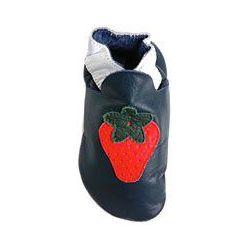 Bleu marine fraise rouge chaussons en cuir souple