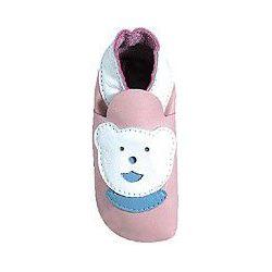 Rose ours blanc chaussons en cuir souple