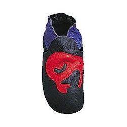 Bleu marine kiwi rouge: chaussons en cuir souple