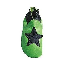 Vert étoile bleu chaussons en cuir souple