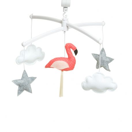 Mobile musical flamant rose orange