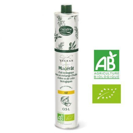 Macerat d'ail frais à l'huile d'olive et de colza bio-500ml