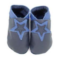 Noir étoile bleue foncé: chaussons en cuir souple