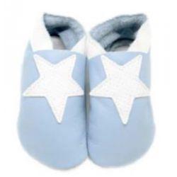 Bleu ciel étoile Blanche: chaussons en cuir souple