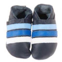 Bleu marine rayures bleu ciel et blanche: chaussons en cuir souple