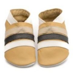 Moutarde rayures marron et blanche: chaussons en cuir souple
