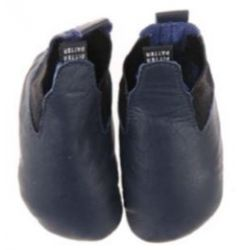 Chaussons en cuir souple Bleu marine