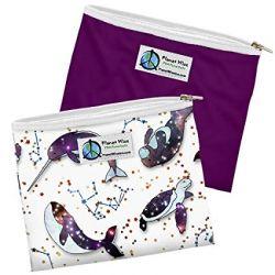 Pack de 2 Sacs Sandwich Zippés Baleine / violet