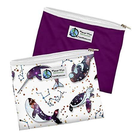 Pack de 2 Sac Sandwich Zippé Baleine / violet