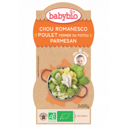 2 bols menu du jour Chou Romanesco poulet parmesan dés 8 mois