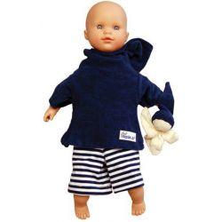 Poupée blanche rayures bleu marine