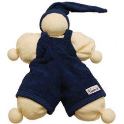 Première poupée doudou bleue marine et blanche