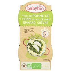 2 bols menu du jour Trio de pommes de terre Epinard Chèvre dès 8 mois