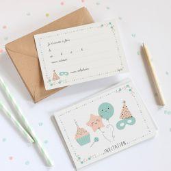Lot de 8 cartes d'anniversaire + enveloppes