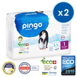 Pack économique  de 2  Couches NEW BORN écologiques jetables. 3-5 kgs Pingo